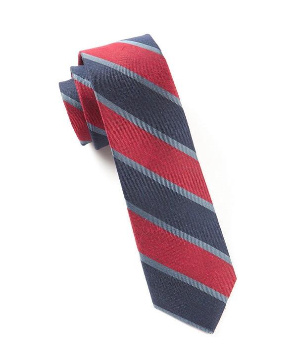 Linen Bold Stripe Red Tie