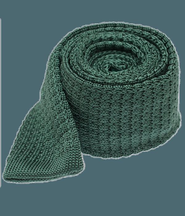 Textured Solid Knit Hunter Green Tie