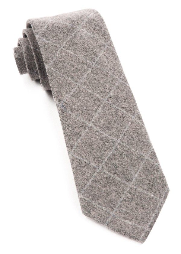 Printed Flannel Pane Charcoal Tie