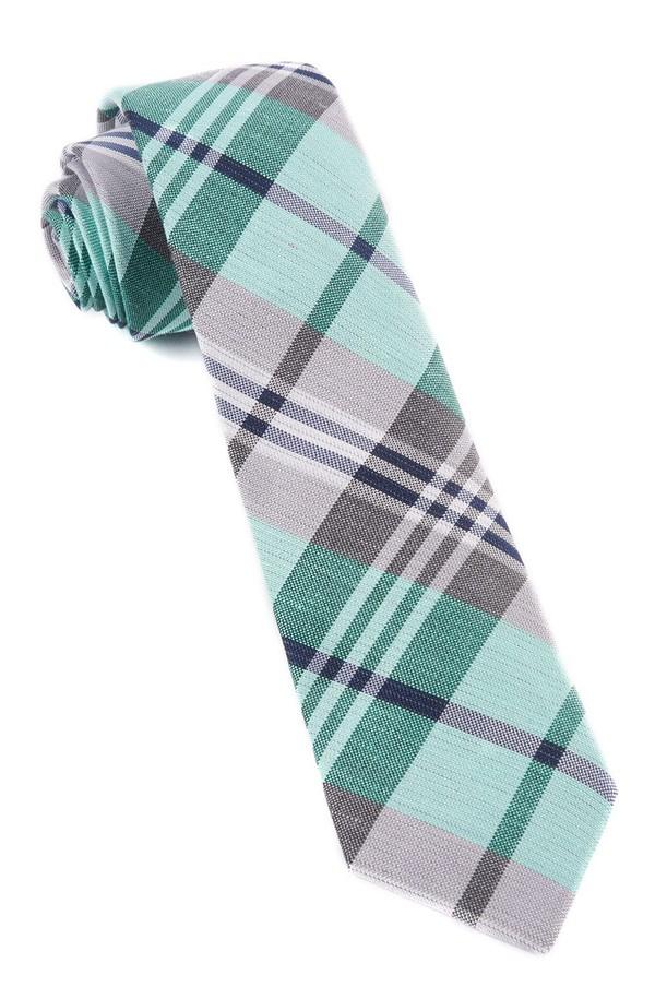 Crystal Wave Plaid Mint Tie