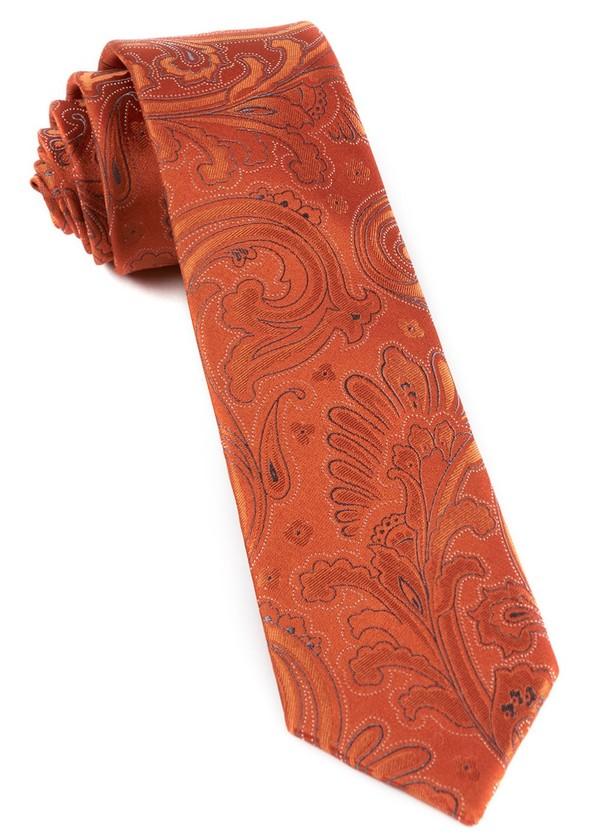 Paisley Phase Orange Tie