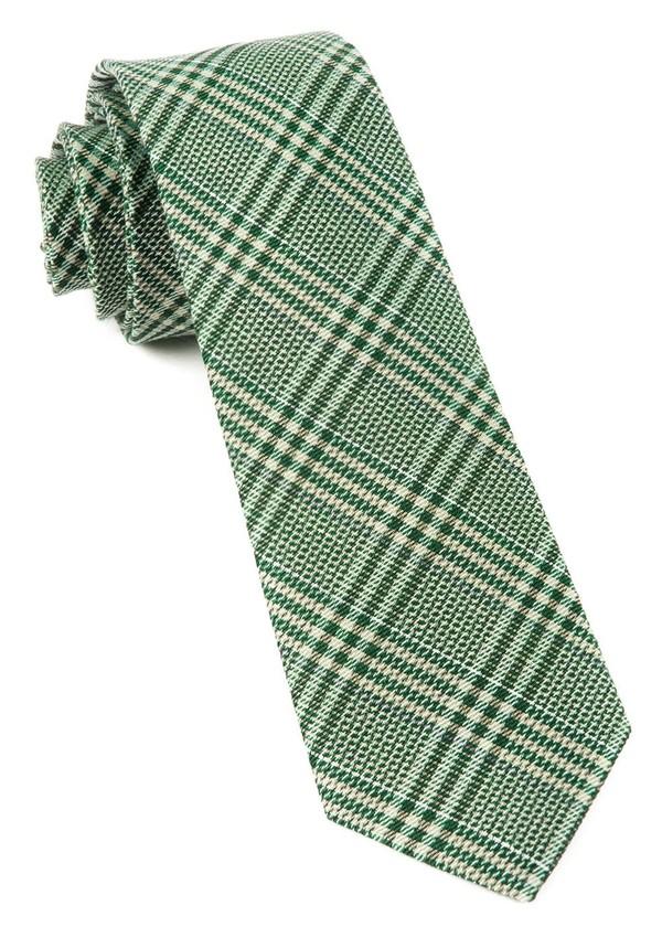 Columbus Plaid Moss Green Tie