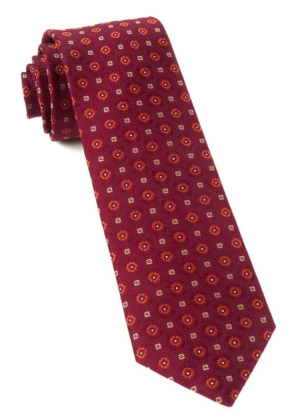 Midtown Medallions Burgundy Tie