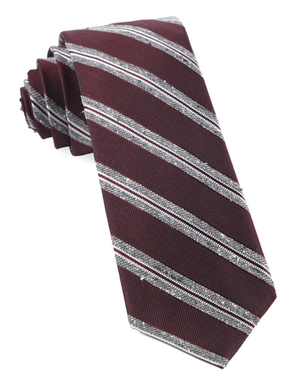 Edison Stripe Burgundy Tie