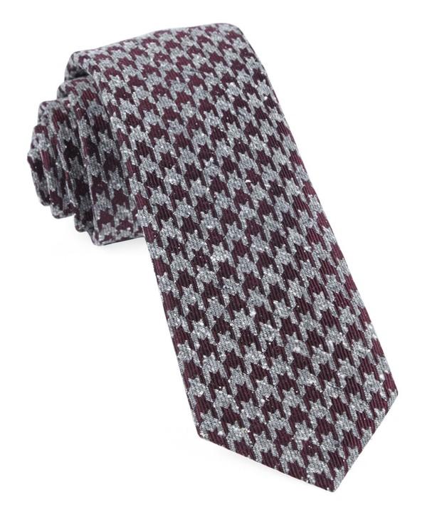 Houndstooth Thrill Burgundy Tie