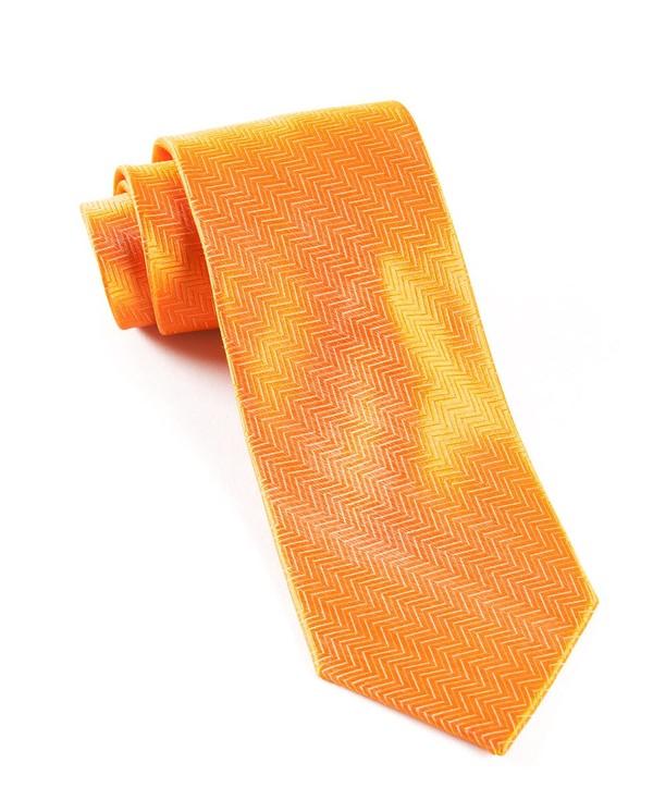 Herringbone Tangerine Tie