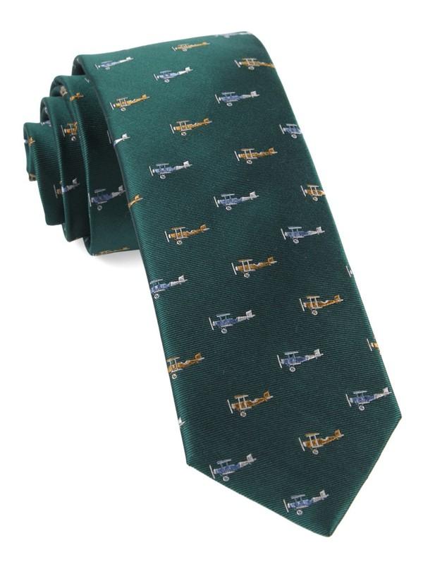 Airplane Fleet Hunter Green Tie