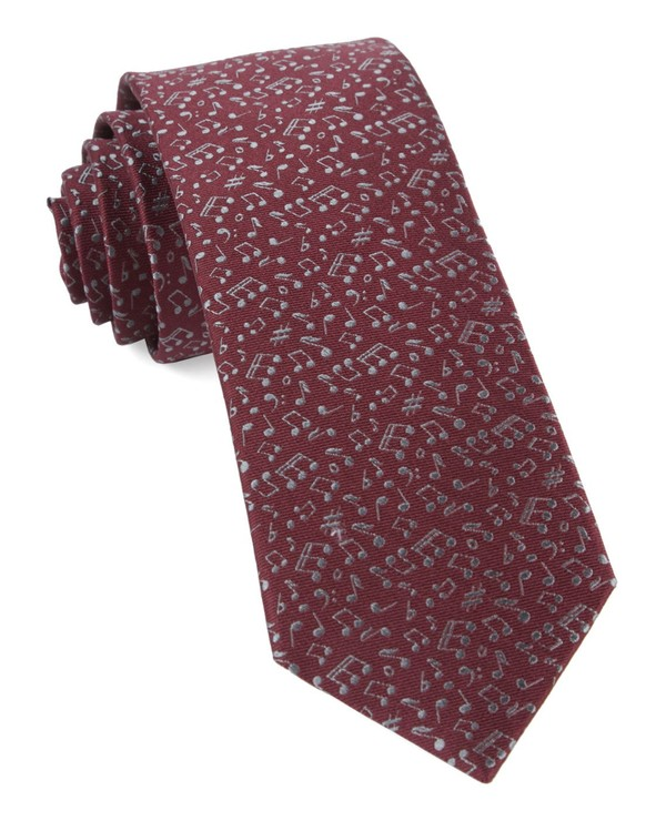 Music Notes Burgundy Tie