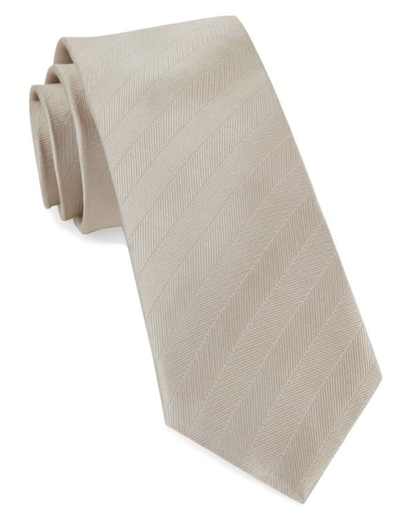 Herringbone Vow Light Champagne Tie