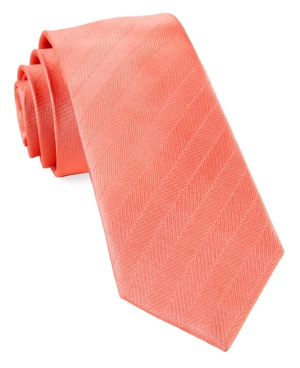 Herringbone Vow Coral Tie