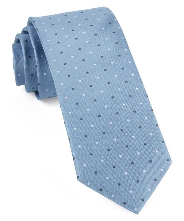Suited Polka Dots Steel Blue Tie