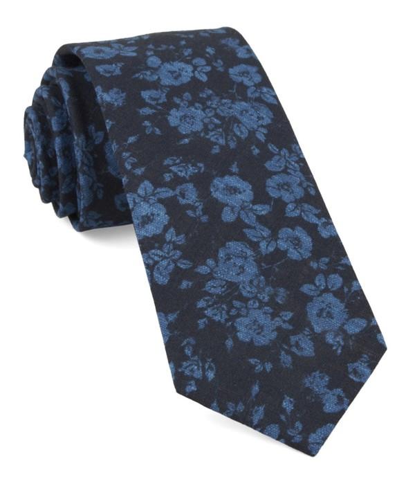 Linen Buds Navy Tie