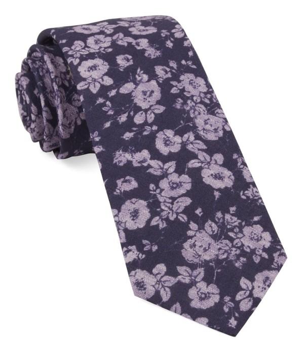 Linen Buds Eggplant Tie
