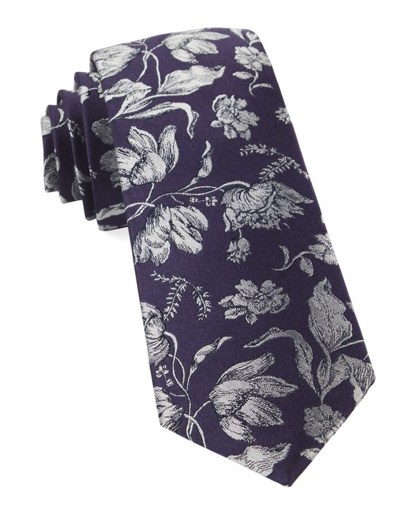 Floral Swell Eggplant Tie