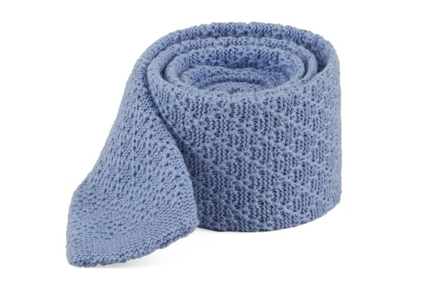 Field Solid Knit Light Blue Tie