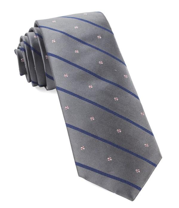 Baseball Stripe Grey Tie