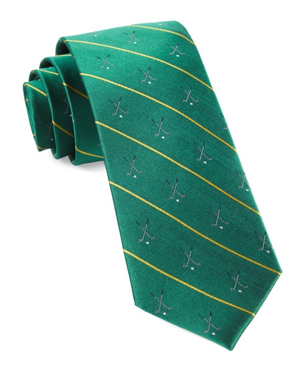 Golf Club Stripe Kelly Green Tie
