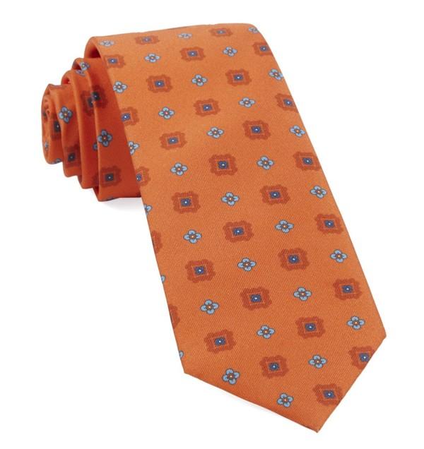 Wildflower Medallion Tangerine Tie