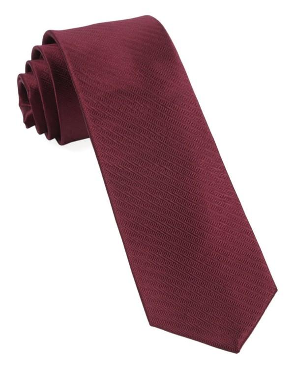 Sound Wave Herringbone Burgundy Tie