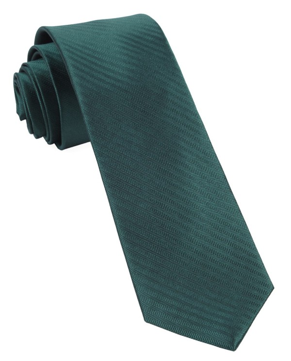 Sound Wave Herringbone Hunter Green Tie