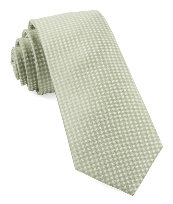 Be Married Checks Sage Green Tie
