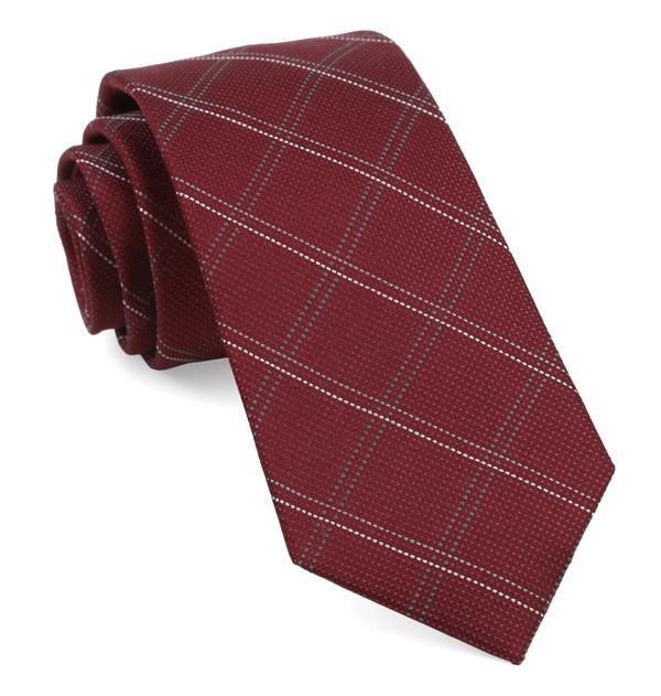 Wingman Checks Burgundy Tie