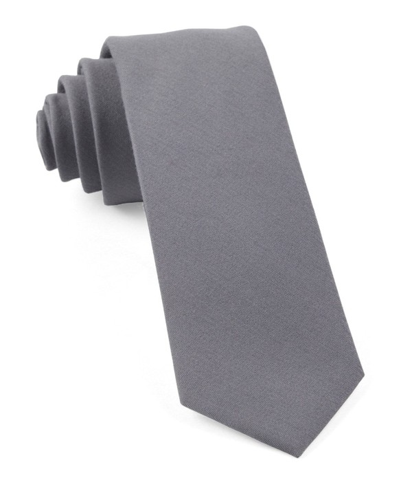 Solid Wool Light Grey Tie