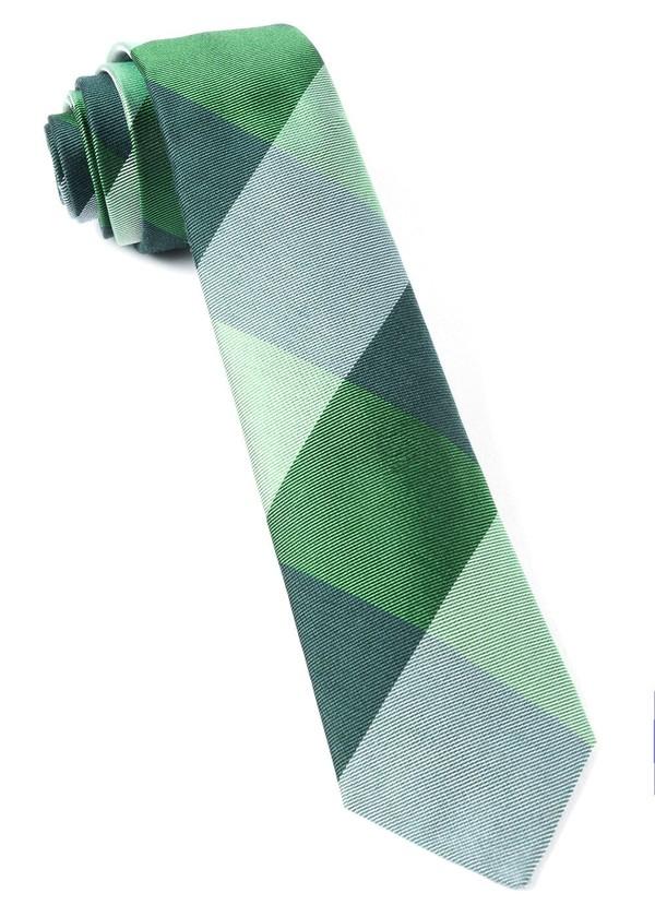 West Bison Plaid Green Tie