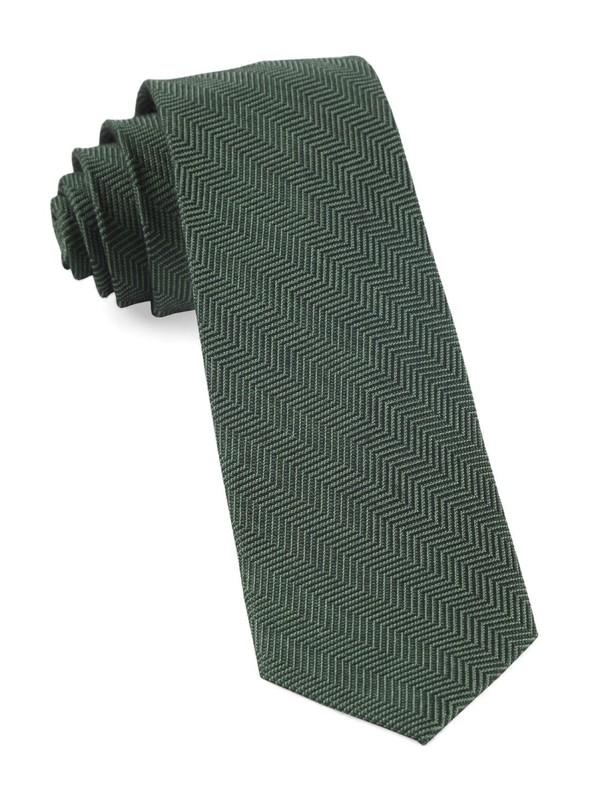 Verge Herringbone Hunter Green Tie