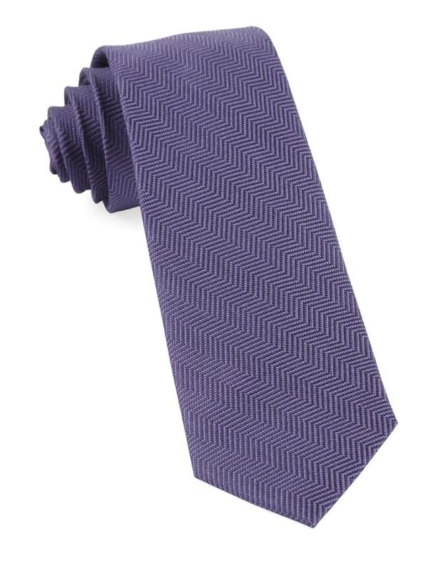 Verge Herringbone Purple Tie