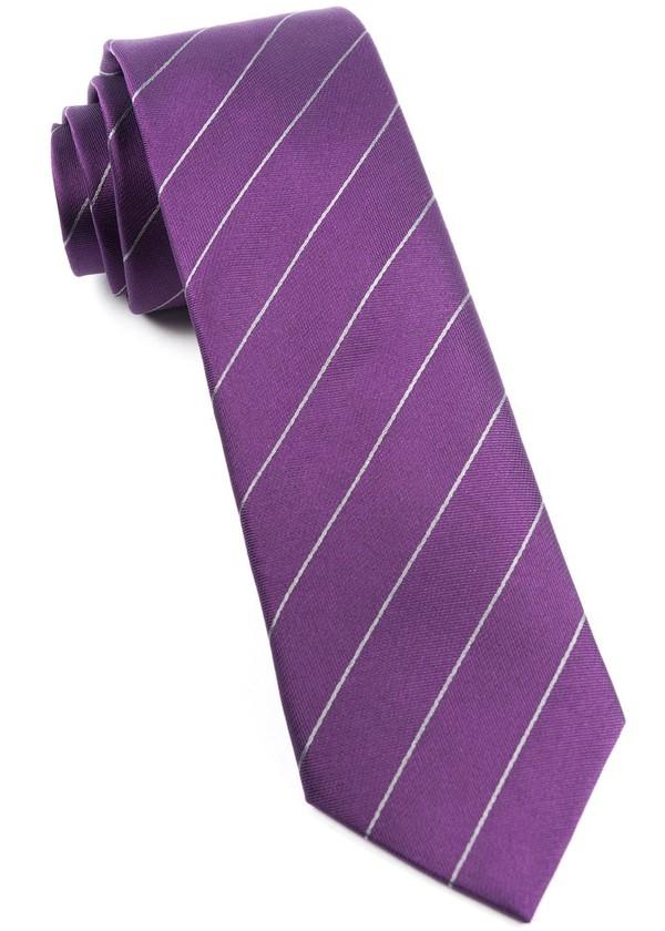 Pencil Pinstripe Plum Tie