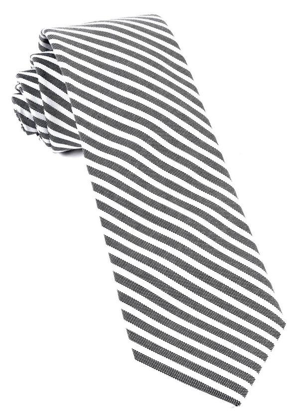 Southern Cotton Stripe Charcoal Tie