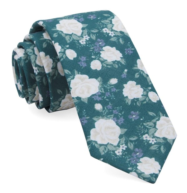 Hodgkiss Flowers Hunter Green Tie
