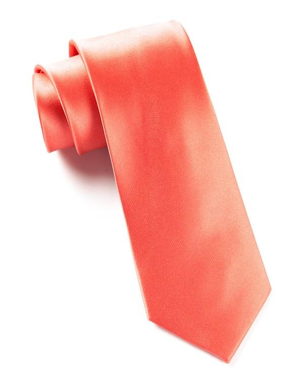 Solid Satin Coral Tie
