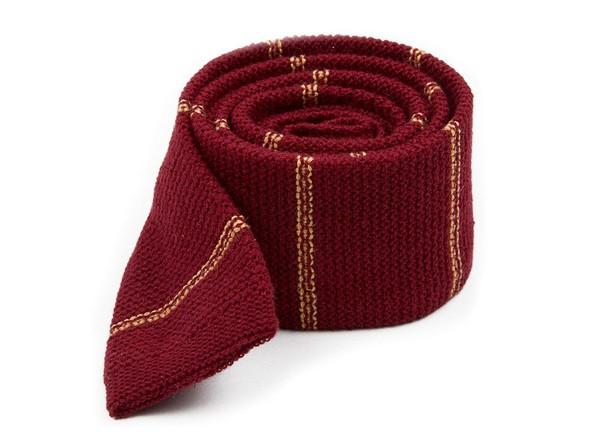 Knitted Hem Stripe Burgundy Tie