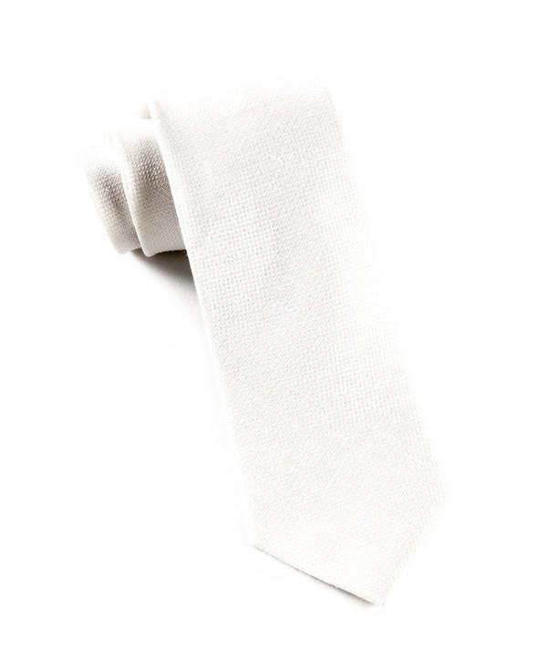 Solid Linen White Tie