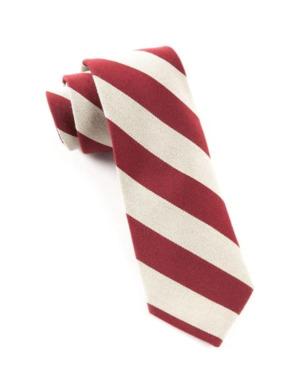 College Stripe Wool Deep Burgundy Tie