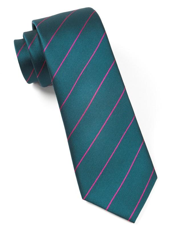 Pencil Pinstripe Green Teal Tie