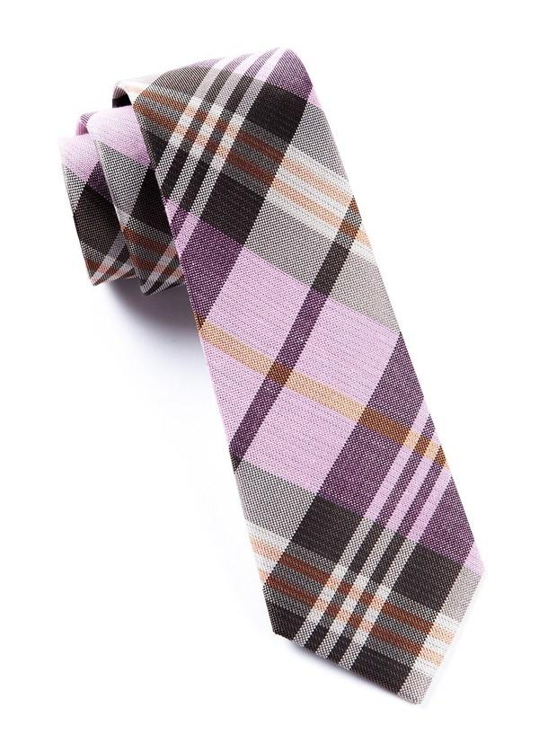 Crystal Wave Plaid Pink Tie