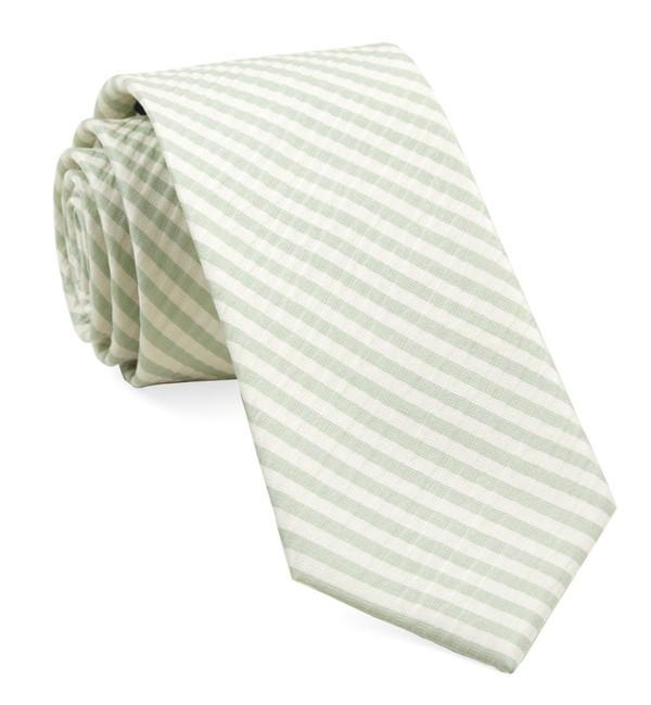 Silk Seersucker Stripe Spring Mint Tie