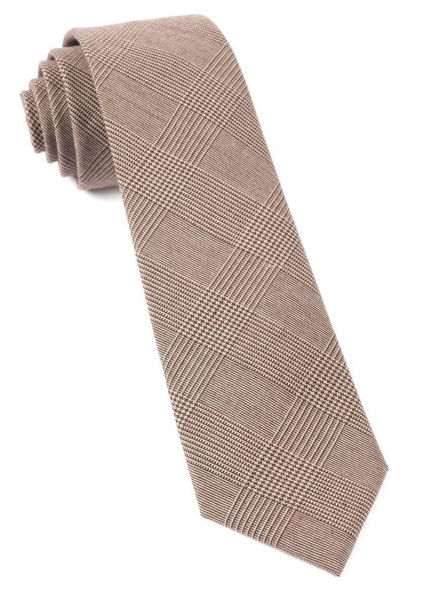 Cotton Glen Plaid Brown Tie