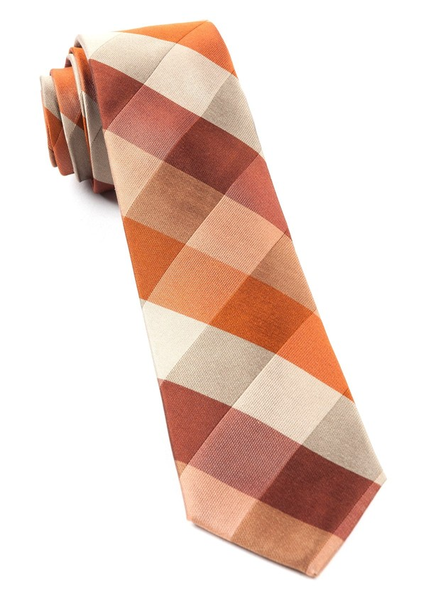 Stout Gingham Orange Tie