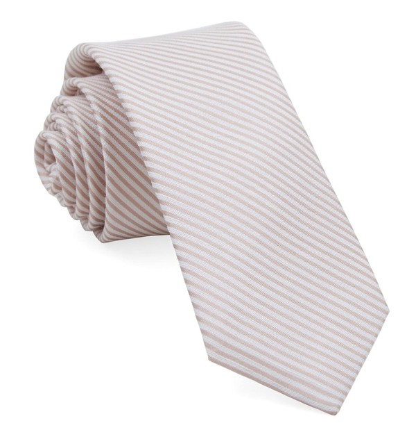 Mumu Weddings - Coastal Stripe Dusty Blush Tie