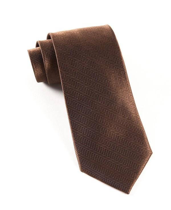 Herringbone Chocolate Brown Tie