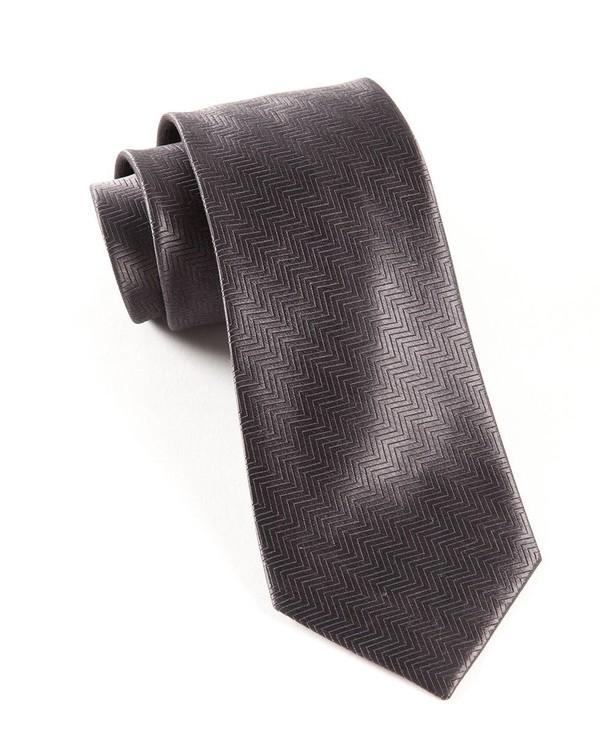 Herringbone Charcoal Grey Tie