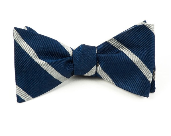 Trad Stripe True Navy Bow Tie