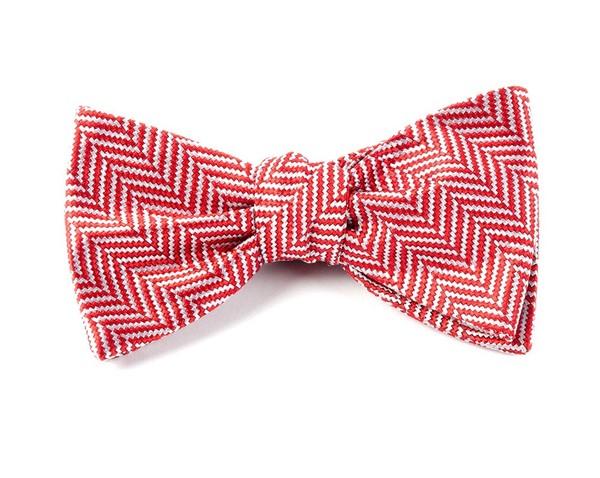 Native Herringbone Red Bow Tie