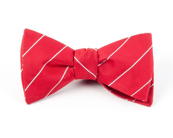 Pencil Pinstripe Apple Red Bow Tie