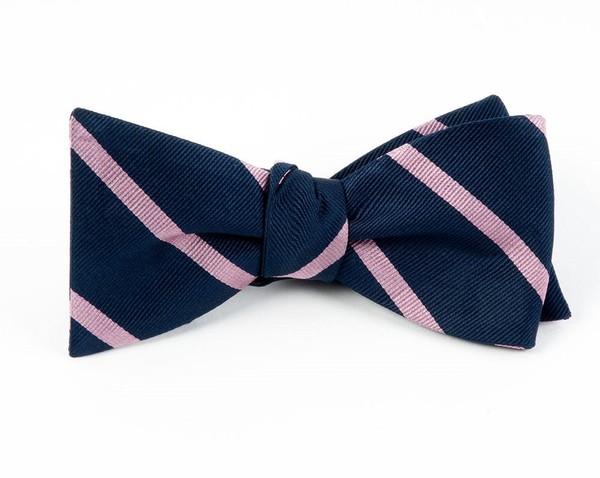 Trad Stripe Navy Bow Tie