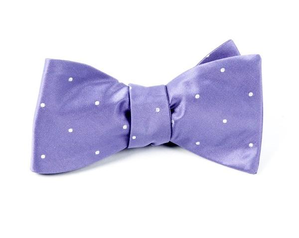 Satin Dot Lavender Bow Tie